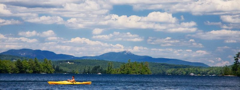 1Yellow Kayak on Squam Lake c New Hampshire Division of Travel and Tourism Development Dale Lary